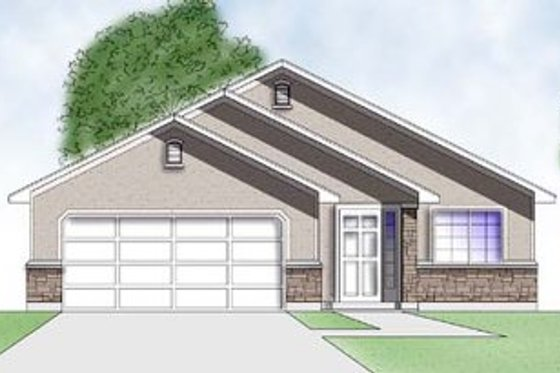 Adobe / Southwestern Exterior - Front Elevation Plan #5-106