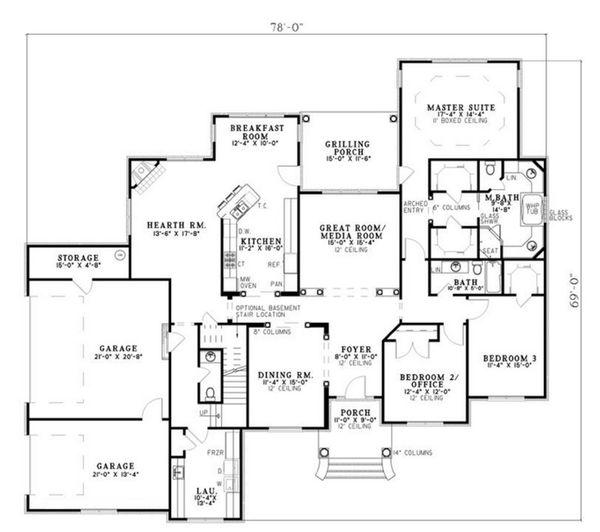Traditional Floor Plan - Main Floor Plan Plan #17-2514