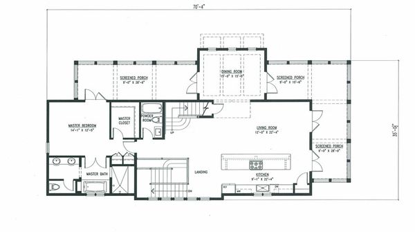 Beach Style House Plan - 4 Beds 5 Baths 3056 Sq/Ft Plan #443-10 Floor Plan - Main Floor Plan