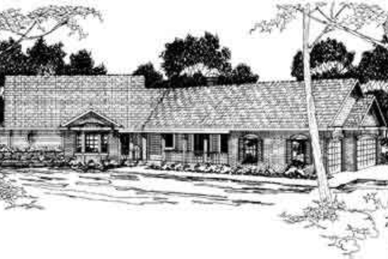Ranch Style House Plan - 4 Beds 3 Baths 2695 Sq/Ft Plan #124-194 Exterior - Front Elevation