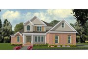Traditional Style House Plan - 4 Beds 3.5 Baths 3629 Sq/Ft Plan #63-213 Exterior - Front Elevation
