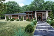 Home Plan - Contemporary Exterior - Front Elevation Plan #17-3392
