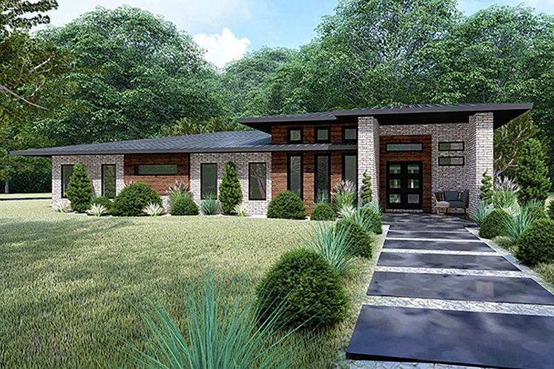 House Plan Design - Contemporary Exterior - Front Elevation Plan #17-3392