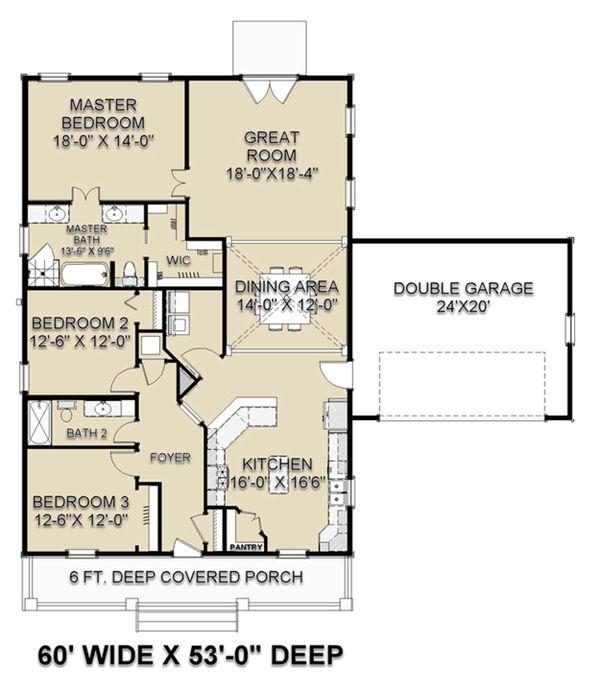 Craftsman Floor Plan - Main Floor Plan Plan #44-235