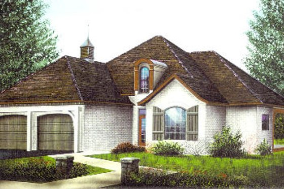 European Exterior - Front Elevation Plan #15-115