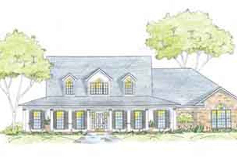 Southern Style House Plan - 3 Beds 2.5 Baths 2661 Sq/Ft Plan #36-448 Exterior - Front Elevation