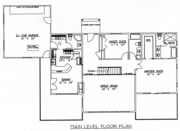 Bungalow Floor Plan - Main Floor Plan Plan #117-530
