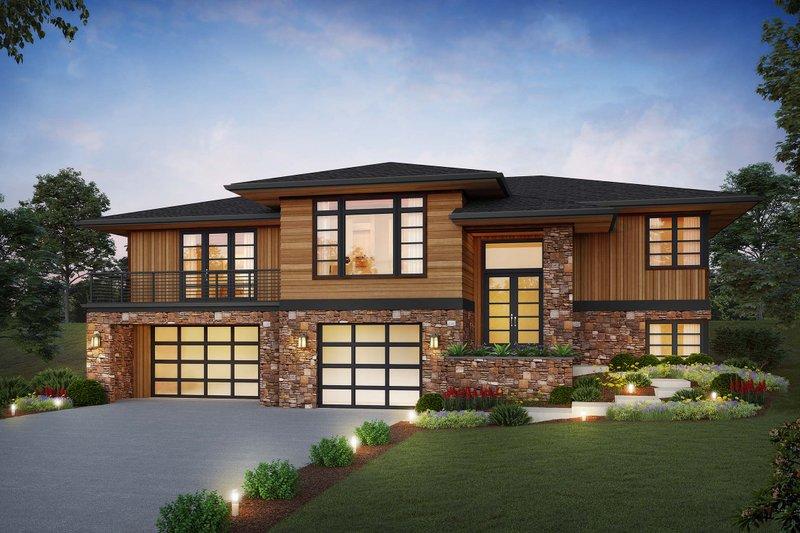 Architectural House Design - Prairie Exterior - Front Elevation Plan #48-1048