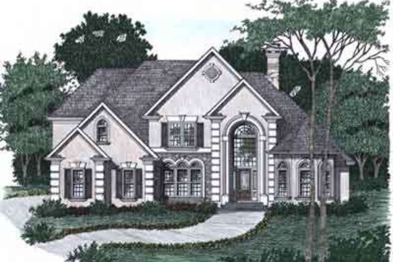 European Style House Plan - 4 Beds 3.5 Baths 3445 Sq/Ft Plan #129-161 Exterior - Front Elevation