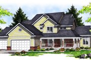 Traditional Style House Plan - 3 Beds 2.5 Baths 2508 Sq/Ft Plan #70-624 Exterior - Front Elevation