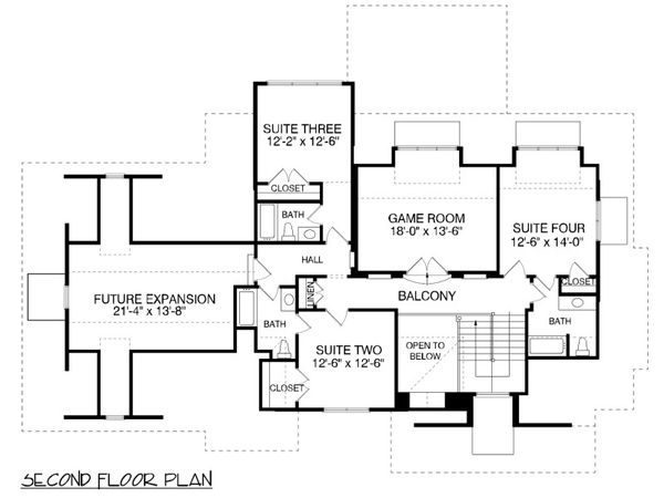 Traditional Floor Plan - Upper Floor Plan Plan #413-886