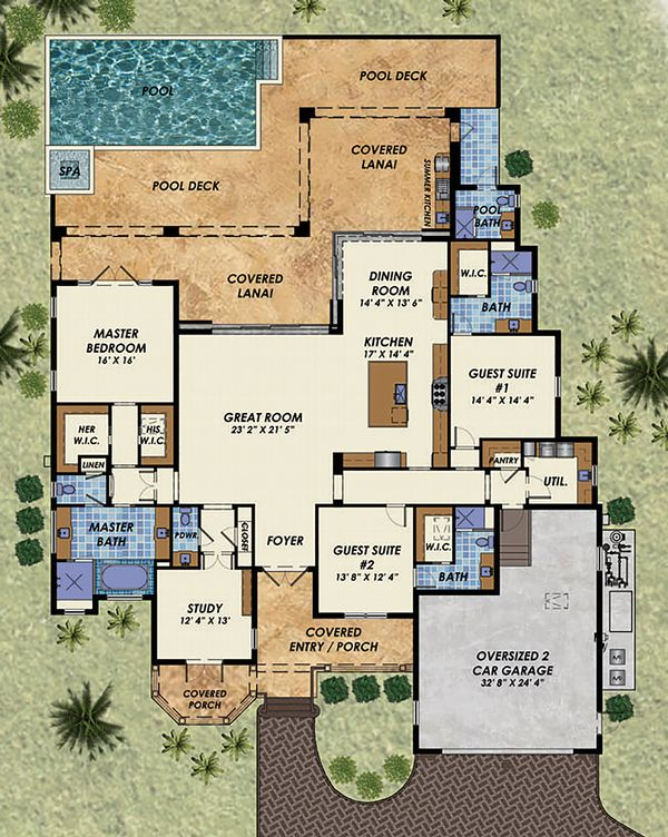 Beach Floor Plan - Main Floor Plan Plan #548-13