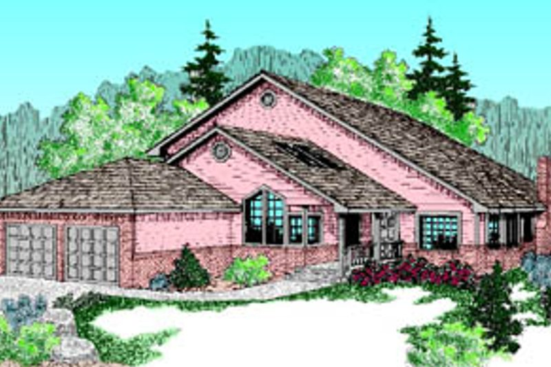 Traditional Style House Plan - 4 Beds 3 Baths 2534 Sq/Ft Plan #60-183 Exterior - Front Elevation