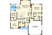 Craftsman Style House Plan - 3 Beds 2 Baths 1641 Sq/Ft Plan #48-560 Floor Plan - Main Floor Plan