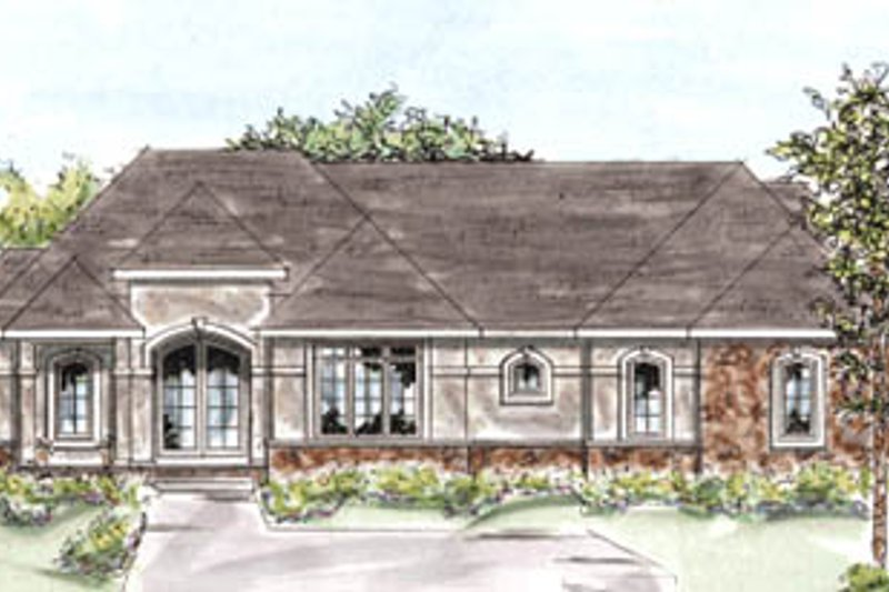 European Exterior - Front Elevation Plan #20-1279 - Houseplans.com