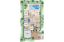 Southwestern style house plan, main level floor plan