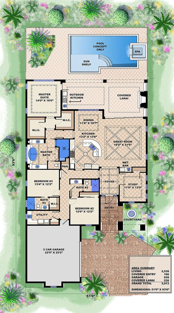 Southwestern style house plan, main level floor plan