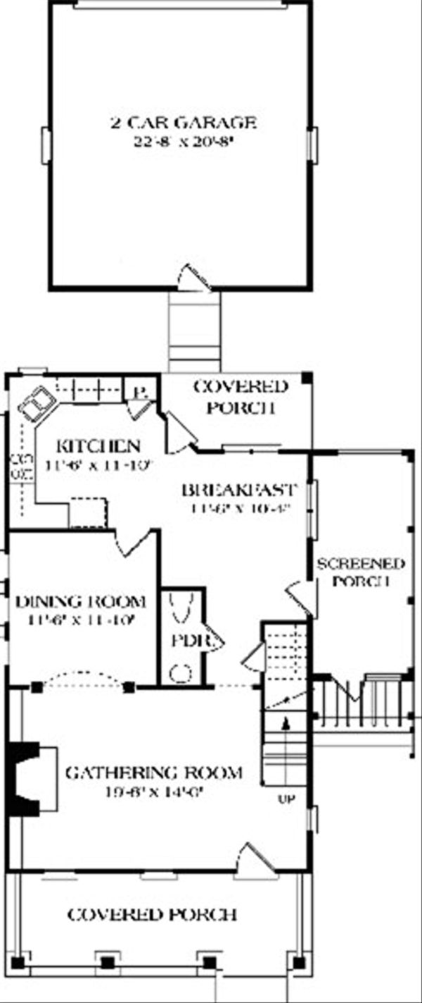 Colonial Floor Plan - Main Floor Plan Plan #453-1