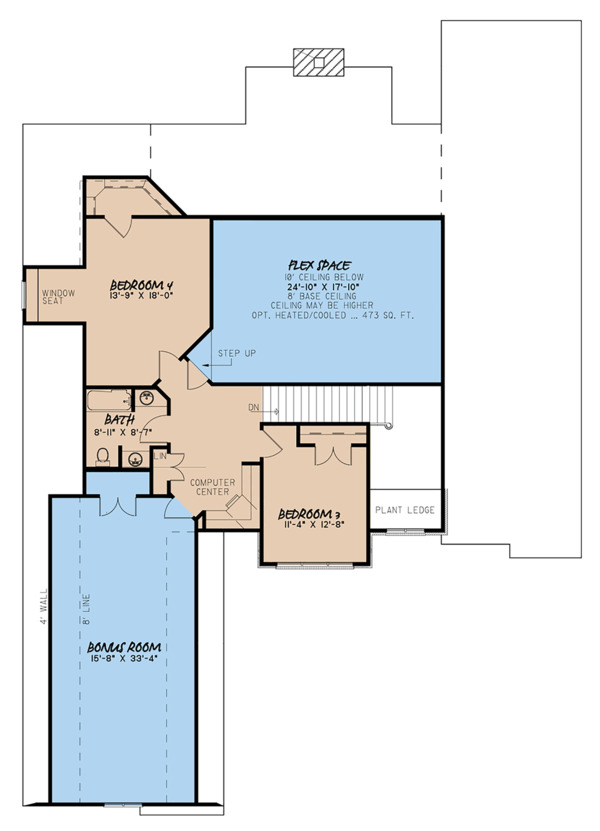 European Floor Plan - Upper Floor Plan Plan #923-31