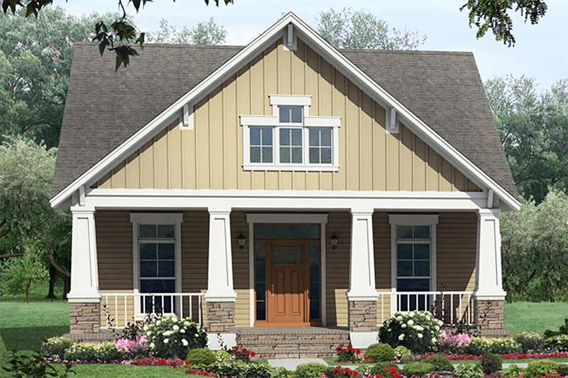 Craftsman Style House Plan - 3 Beds 2 Baths 1800 Sq/Ft Plan #21-249 Exterior - Front Elevation