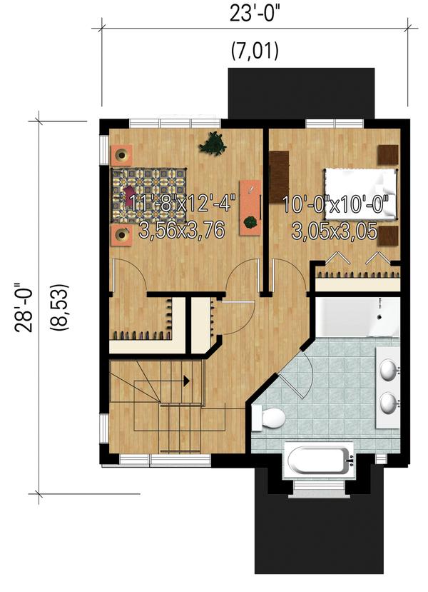 Contemporary Floor Plan - Upper Floor Plan Plan #25-4434