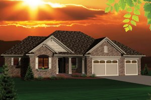 Ranch Exterior - Front Elevation Plan #70-1046
