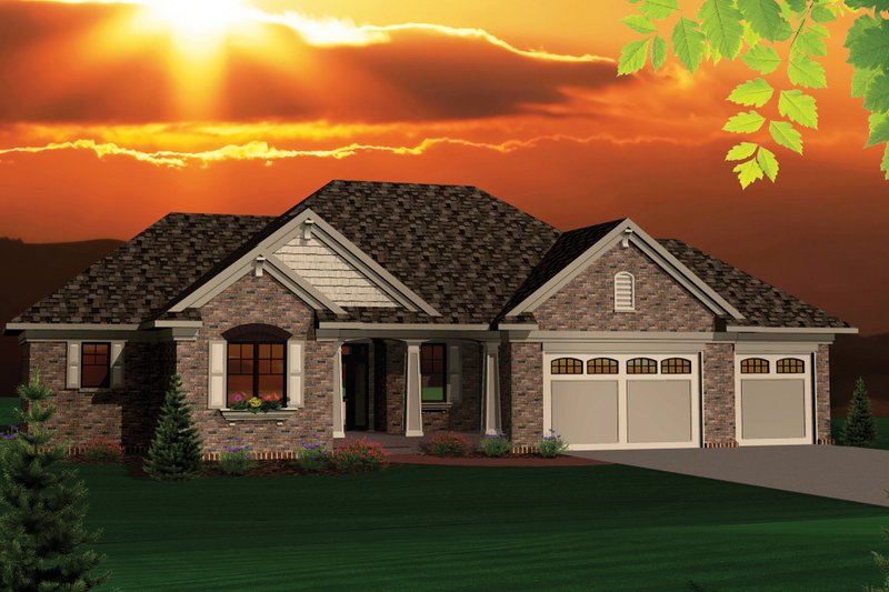 Dream House Plan - Ranch Exterior - Front Elevation Plan #70-1046