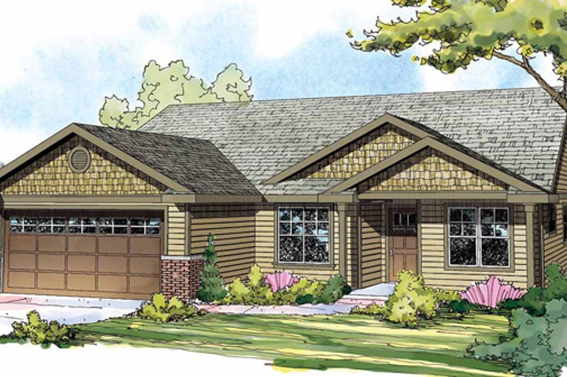 Ranch Exterior - Front Elevation Plan #124-855