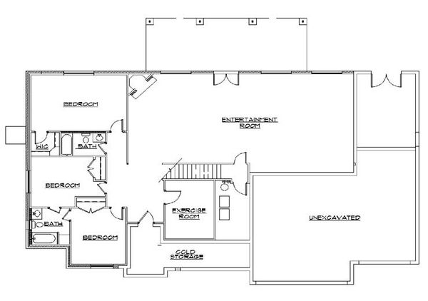 House Plan Design - European Floor Plan - Lower Floor Plan #5-279