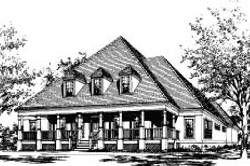 Southern Style House Plan - 5 Beds 3 Baths 2898 Sq/Ft Plan #37-217 Exterior - Front Elevation