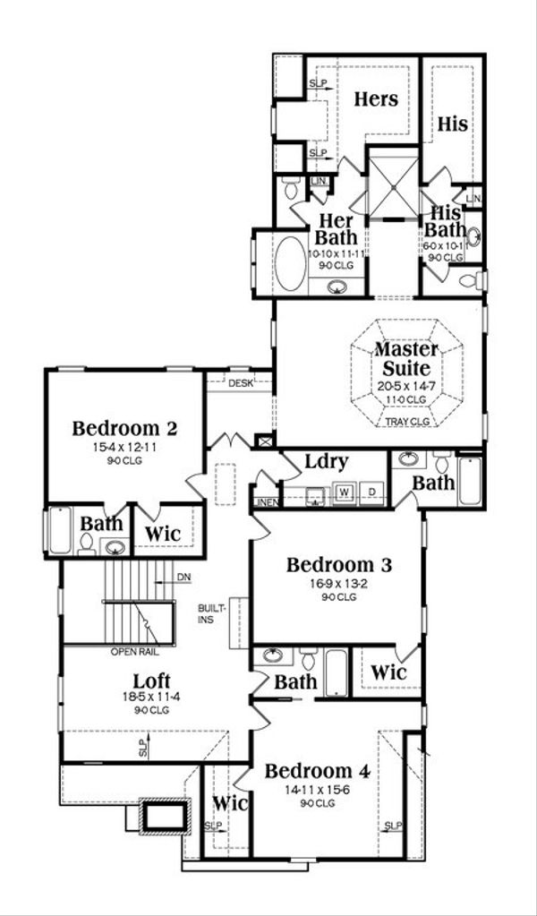 Traditional Floor Plan - Upper Floor Plan Plan #419-234