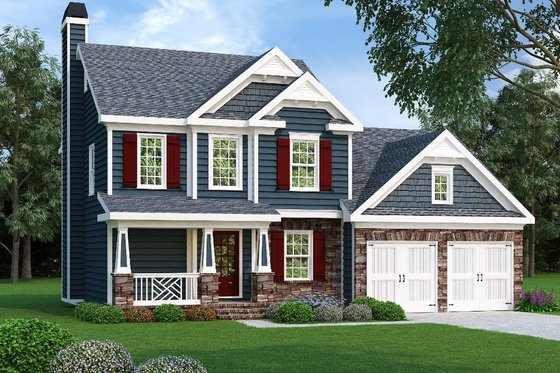 Craftsman Exterior - Front Elevation Plan #419-157
