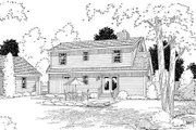 Colonial Style House Plan - 3 Beds 2.5 Baths 1560 Sq/Ft Plan #312-447 Exterior - Rear Elevation
