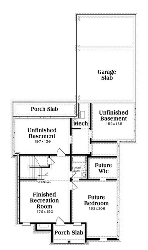 Architectural House Design - Traditional Floor Plan - Lower Floor Plan #419-234