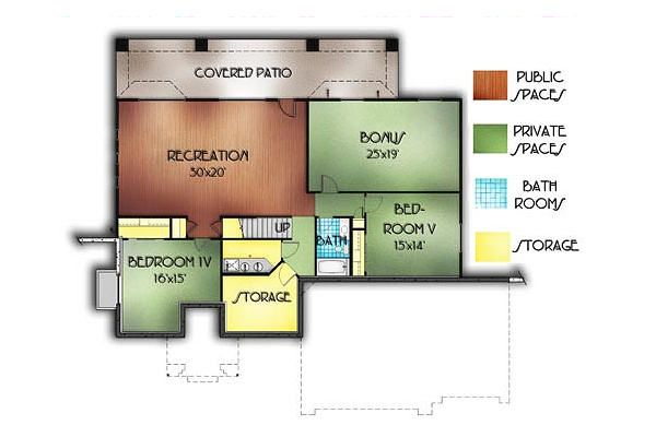 Adobe / Southwestern Floor Plan - Lower Floor Plan Plan #24-247