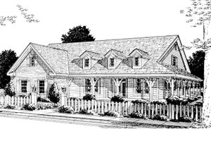 Country Exterior - Front Elevation Plan #20-168