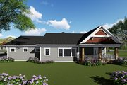 Ranch Style House Plan - 3 Beds 2 Baths 1983 Sq/Ft Plan #70-1418 Exterior - Rear Elevation