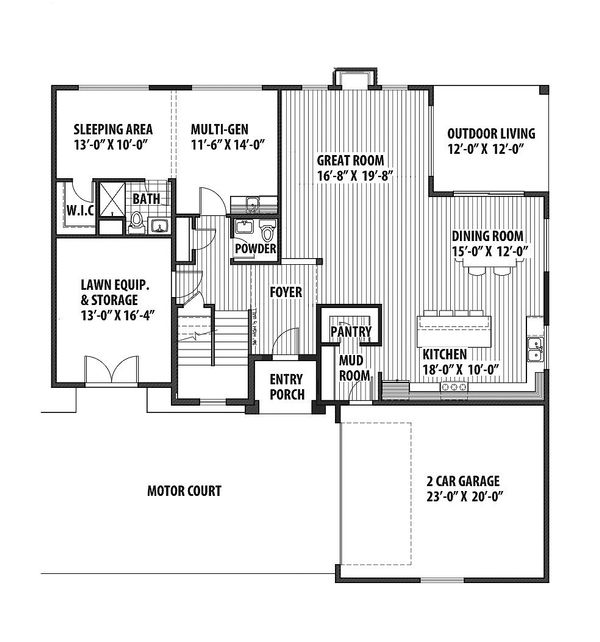 Contemporary Floor Plan - Main Floor Plan Plan #569-38