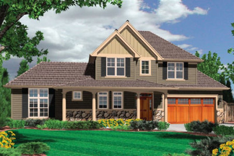 Craftsman Exterior - Front Elevation Plan #48-373