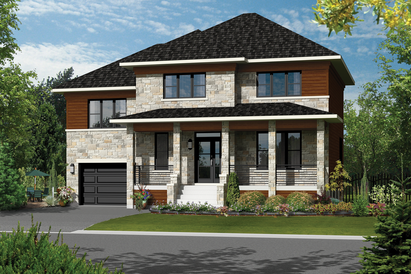Contemporary Style House Plan - 3 Beds 2 Baths 2080 Sq/Ft Plan #25-4301 Exterior - Front Elevation