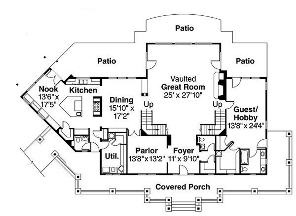 Craftsman Floor Plan - Main Floor Plan Plan #124-674