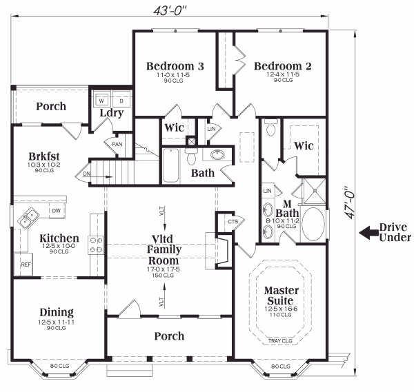 Country Floor Plan - Main Floor Plan Plan #419-155