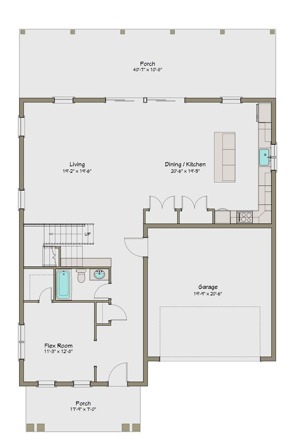 Craftsman Floor Plan - Main Floor Plan Plan #461-44