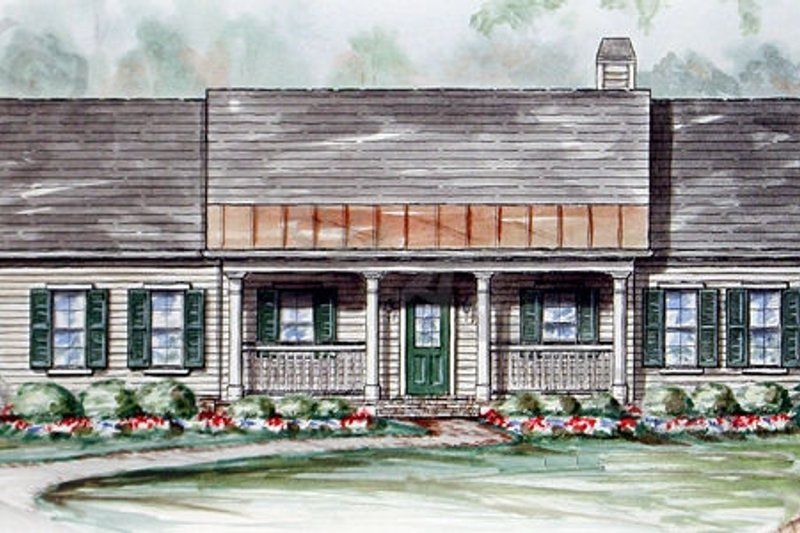 Ranch Style House Plan - 3 Beds 2 Baths 1624 Sq/Ft Plan #54-145 Exterior - Front Elevation