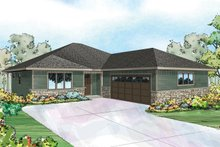 Ranch Exterior - Front Elevation Plan #124-957