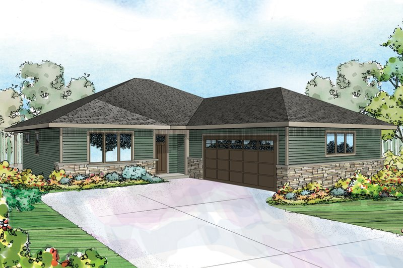 Dream House Plan - Ranch Exterior - Front Elevation Plan #124-957