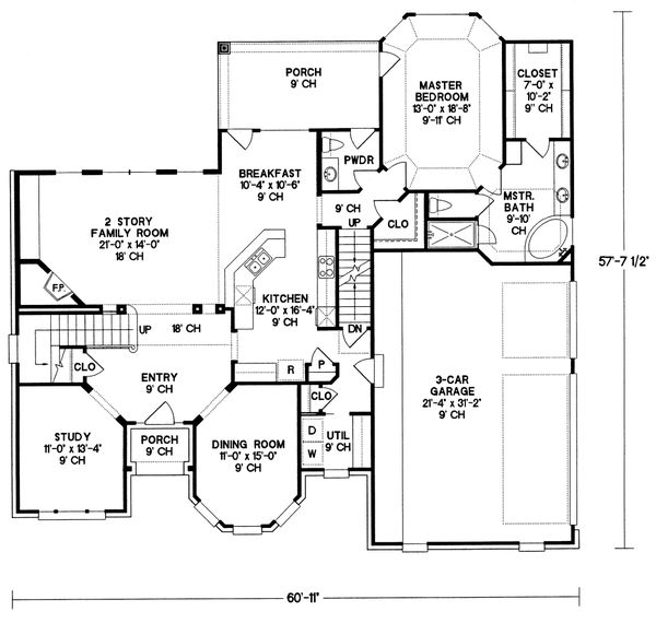 Home Plan - European Floor Plan - Main Floor Plan #20-1580