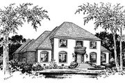 European Style House Plan - 5 Beds 4.5 Baths 4234 Sq/Ft Plan #15-237 Exterior - Front Elevation