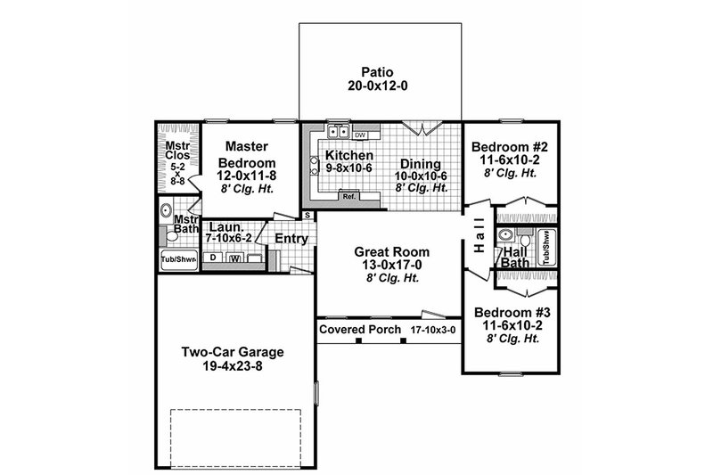 Ranch Style House Plan - 3 Beds 2 Baths 1200 Sq/Ft Plan #21-327 on small cottage house plans 3-bedroom, metal homes floor plans 3-bedroom, a frame homes floor plans 3-bedroom,