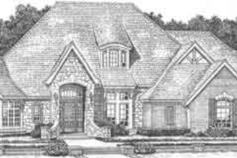 European Style House Plan - 4 Beds 4.5 Baths 4554 Sq/Ft Plan #310-518 Exterior - Front Elevation